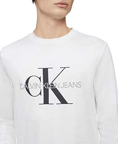Calvin Klein Men's Long Sleeve Logo T-Shirt, Brilliant White Monogram, Medium