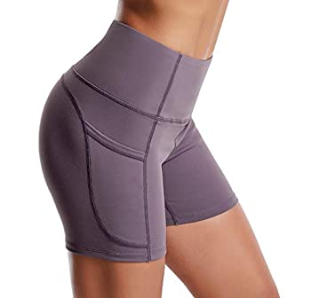 THE GYM PEOPLE High Waist Yoga Shorts for WomenTummy Control Fitness Athletic Workout Running Shorts with Deep Pockets  Large Crystal Purple