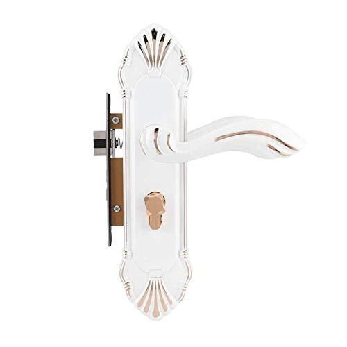 YUAN CHUANG Cerradura de la manija de la Puerta del Estilo Europeo Elegante Cerradura de la Puerta de cerámica Mecánica Mune Lockers para el hogar Decoración Decoración Doorknob Traje Blanco