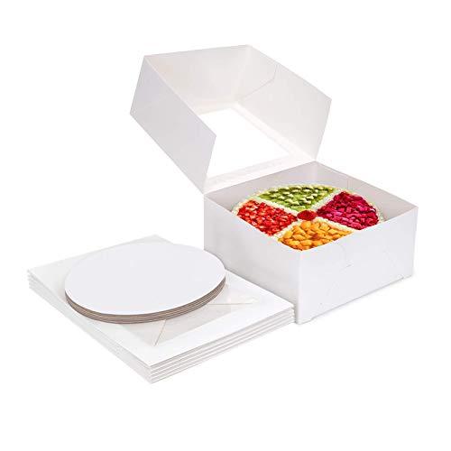 Cajas para pasteles Paquete de 5 Cajas para pasteles de cartón blanco con 8x8x5 pulgadas/10x10x5 pulgadas Cajas de panadería con almohadilla para decoración de pasteles y pasteles Small