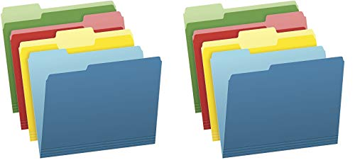 Pendaflex Two-Tone Color File Folders, Letter Size, Assorted Colors (Bright Green, Yellow, Red, Blue), 1/3-Cut Tabs, Assorted, 36 Pack (03086), 4-Color - 2 Pack