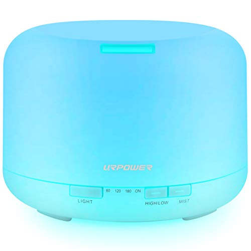 URPOWER Upgraded 500ML Essential Oil Diffuser Humidifiers Ultrasonic Aromatherapy Diffusers with 4 Timer Settings and Waterless Auto Shut-Off for Home Office Living Room Yoga Spa