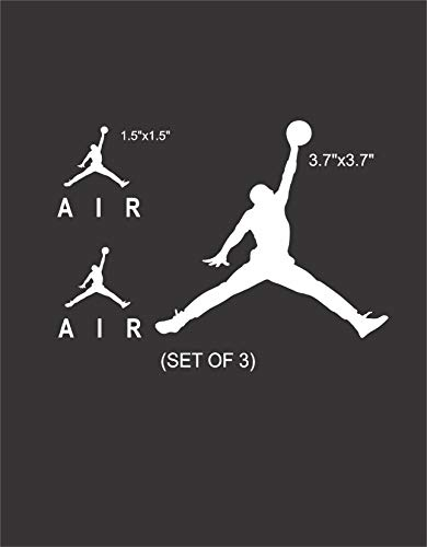 Set NBA Jordan 23 AIR Jumpman Logo Huge Flight Vinyl Decal Sticker - Car Window, Laptop, Wall, Mac (Small,White)