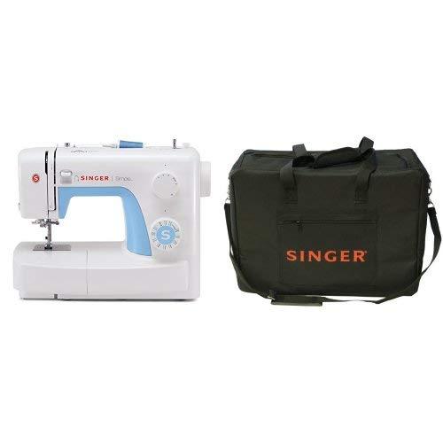 Singer Simple 3221 - Máquina de coser mecánica, 21 puntadas, 120 V, color blanco + Funda Singer para máquina de coser, color negro