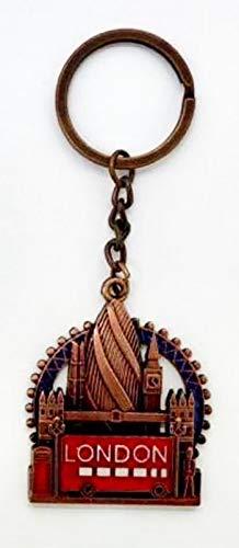 London Souvenirs Key Ring Gift for London Travel, Big Ben, London Eye Tower Bridge by 4 Square - KR-151 (Brown)