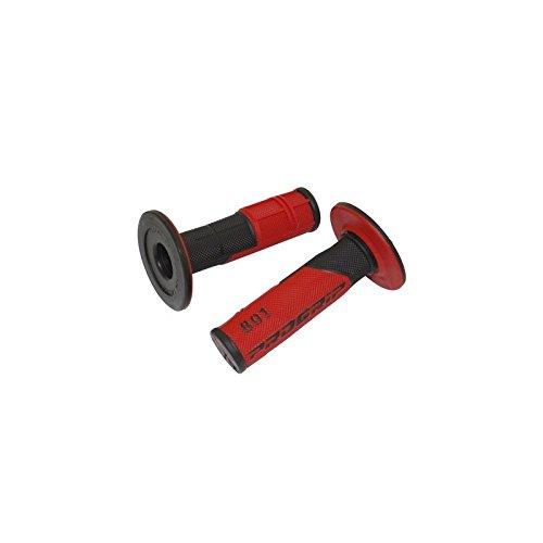REVETEMENT POIGNEE PROGRIP 801 NOIR - ROUGE (PAIRE) - 115mm - (CROSS)