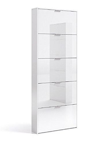 Zapatero Alto 5 Trampones abatibles Color Blanco Brillo Diseño Discreto Sencillo