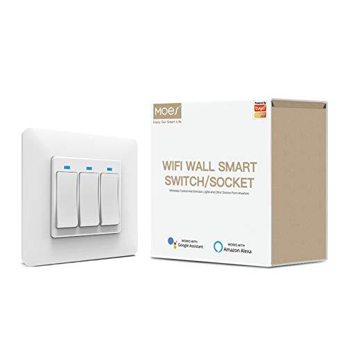 MOES Wlan Smart Alexa, interruttore della luce WiFi, interruttore della luce compatibile con Smart Life Tuya, telecomando con app Smart Life Tuya, Alexa e Google Home, 3 marce