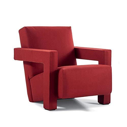 Lwieui Silla de sofá Silla de sofá de Tela Simple nórdica Silla de salón Franela Balcón Silla de Lectura Silla Sillones y chaises Longues (Color : Red, Size : 69x88x74cm)
