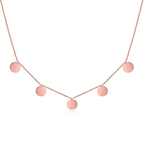 Good.Designs ® Damenkette Multicoin für Frauen | Mädchen roségold roségoldene Kette Halskette roségoldfarben rund Damenhalskette Damenkette Damenschmuck