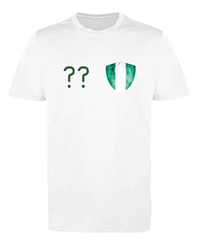 Comedy Shirts - Nigeria Trikot - Wappen: Klein - Wunsch - Mädchen Trikot - Weiss/Dunkelgrün Gr. 134-146
