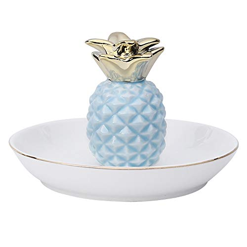 WZNING Creative Pineapple Jewelry Ceramic Holder Kleurrijke Jewelry Storage Plate Ring Armbanden Plaat van het fruit display lade for de verjaardag van Moederdag Christmas Gift (Color : Blue)