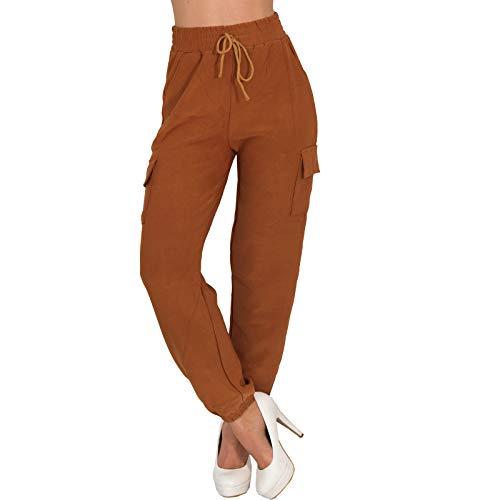 Candygirls Pantaloni cargo da donna, a vita alta, da jogging, per fitness, palestra, LH-28 marrone L-XL