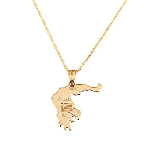 Collar con colgante de mapa de Grecia de Color dorado para mujeres y hombres, joyería con encanto de mapa griego de Atenas