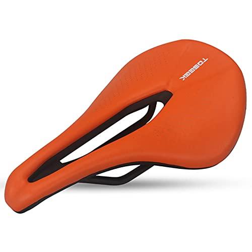 Asiento de Bicicleta, Ligera Respirable Hueco de Cómodo Fibra de Cuero Sillín de Ergonómico,para MTB, Bicicleta de Carretera, Bike Seat Saddle,Orange