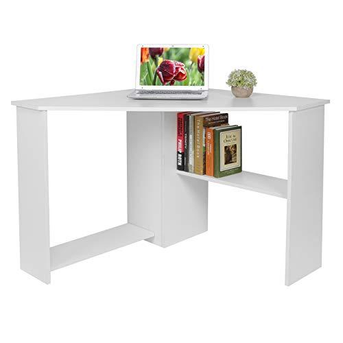 Escritorio de esquina en forma de L, mesa de estudio para ordenador portátil, mesa de estudio, mesa de juegos para PC, mesa de estudio con estantes para libros para el hogar/oficina