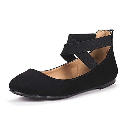 DREAM PAIRS Women's Sole_Stretchy Black Fashion Elastic Ankle Straps Flats Shoes Size 6 M US