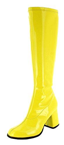 Das Kostümland Gogo Damen Retro Lackstiefel - Gelb Gr. 40 - Tolle Schuhe zur 70er 80er Jahre Disco Hippie Mottoparty