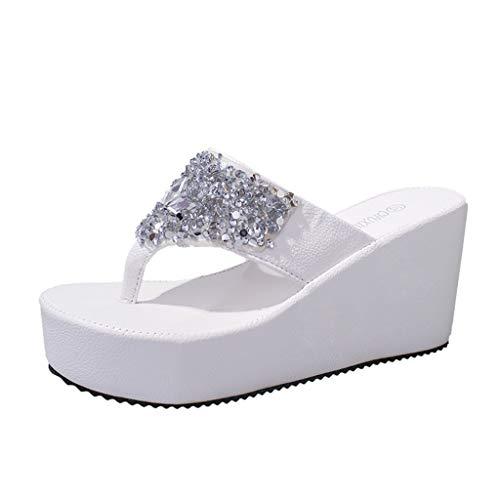 iYmitz Sommer Hausschuhe Damen Frauen Flip Flops Strass Wedges Clip Toe Beach High Heels Schuhe Sandaletten Sandalen(Weiß,EU/39)