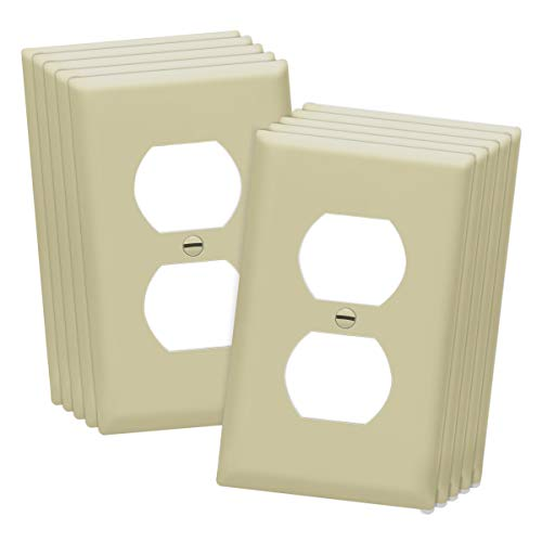 Duplex Wall Plates Kit by Enerlites 8821-I Home Electrical Outlet Cover, 1-Gang Standard Size, Unbreakable Polycarbonate Material, Ivory- 10 Pack Dual Port Replacement Receptacle Faceplates