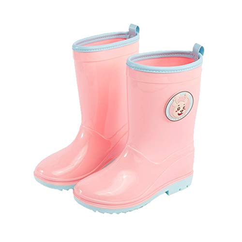 WXFF Infantil Antideslizante Botas de Lluvia de Cuatro Estaciones Cargadores Impermeables niños y niñas al Aire Libre Botas de Lluvia Zapatos de Agua (Color : Light Pink, Size : 20cm)