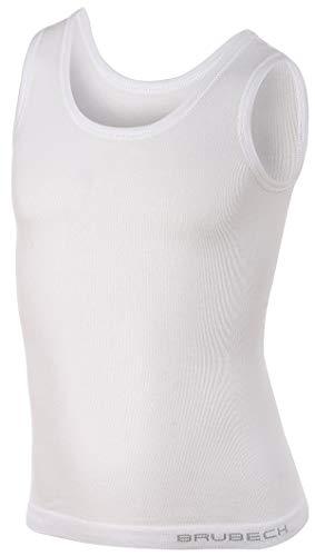 BRUBECK Jungen Unterhemd 3er Pack | weißes Tanktop Kinder Junge | Achselhemd | ärmellos T-Shirt atmungsaktiv | Boys Undershirt | Cotton Tank Top | 81% Baumwolle | Gr. 128-134 | TA10220