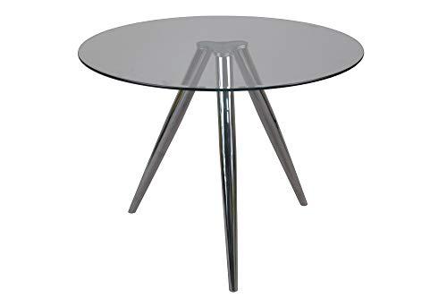 SalesFever Esstisch rund LEDAN | Durchmesser 100 cm | Küchentisch mit Glasplatte | Gestell Chrom | Zeitgenössisches und stilvolles Design