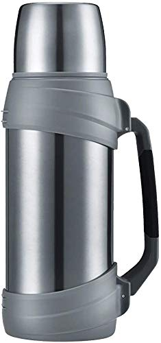 Olerd Botella de agua aislada de 2,5 litros – Botella de agua de acero inoxidable con taza, termo grande para gimnasio, viajes, camping, senderismo, color plateado