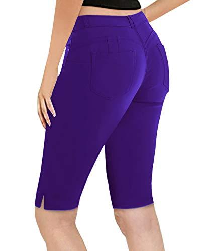 Super Comfy Stretch Bermuda Shorts B43308 Purple 11