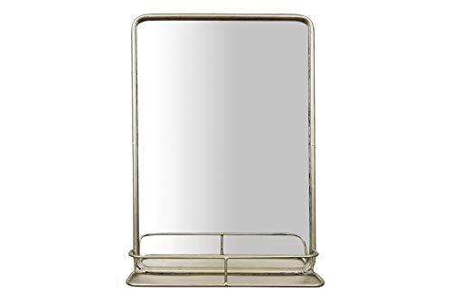 Creative Co-Op Rectangle Metal Wall Mirror with Shelf, Single Vanity, -