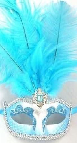 Turquoise bleu argent Venetian Mask Feather Masquerade Mardi Gras 12 nouveau by Party Supplies