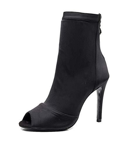 TDA Women's Rubber Sole Stiletto Heel Peep Toe Black Satin & Elastic Fabric Zipper Social Tango Prom Modern Dance Boots Wedding Party Sandals Boots 4 M US
