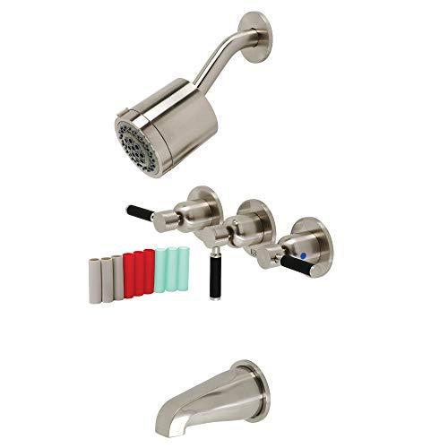 Kingston Brass KBX8138DKL Kaiser Three-Handle Tub and Shower Faucet, Brushed Nickel
