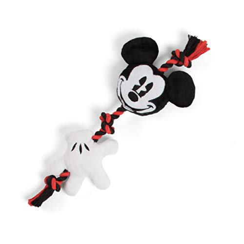 Disney Mickey Mouse Expression and Glove Sliding Rope Dog Chew Toy with Squeakers