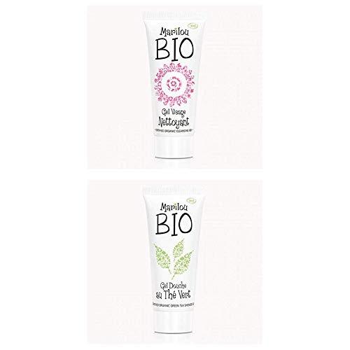 Duo de produit de beauté MARILOU BIO - Gamme Classic - Gel visage nettoyant - Gel douche thé vert
