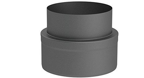 Übergangselement doppelwandig von Kaminofen auf Verbindungsleitung (15mm Isolierung), 150mm Innendurchmesser; gussgrau lackiert