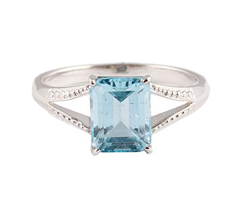 Gorgeous Blue Topaz Ring Anniversary / Engagement Ring Natural Blue Topaz R Emerald Cut Blue Topaz Ring Sterling Silver 925 Ring Women Girl Ring For Gift Handmade Simple Style Ring