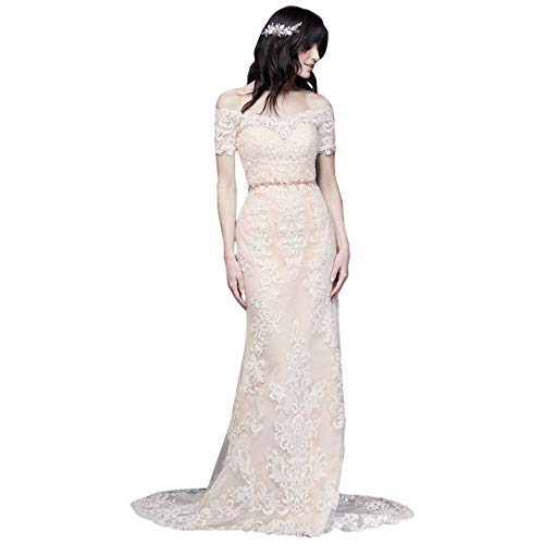 Off The Shoulder Lace Sheath Wedding Dress Style V3958, Ivory, 8
