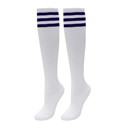 Faletony Damen Kniestrümpfe Overknee Stiefel Strümpfe cheerleader Cosplay Socken mit Streifen, 35cm, Schwarz/Weiß/Rosa/Bunt (Weiß(mit Blau-Streifen))