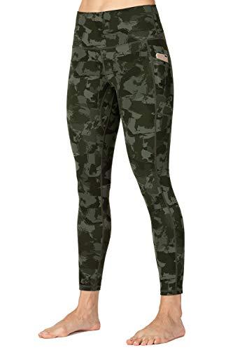 Wirezoll Leggings Damen 7/8, High Waist und Blickdichte Sport Hose mit Taschen (Tarnung Blumen, 40-42)