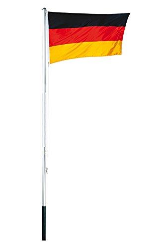 Mojawo Aluminium Fahnenmast Höhe 3,8m inkl.Deutschlandflagge 4 TLG. Fahnenstange Flaggenmast inkl. Bodenhülse