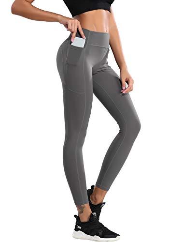 QueenDer Leggings Fitness Mujer Deporte Pantalones Largo Cintura Alta con Bolsillo Polainas Mallas para Yoga Running Cycling y Pilates (Gris, XL)