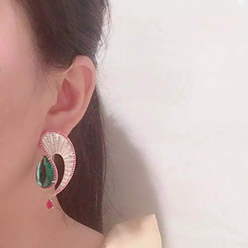 BAJIE Earring Wave Shaped Water Drop Green Crystal Inlaid Zircon Fashion Earrings Suitable For Women'S Wedding Earrings And Gifts