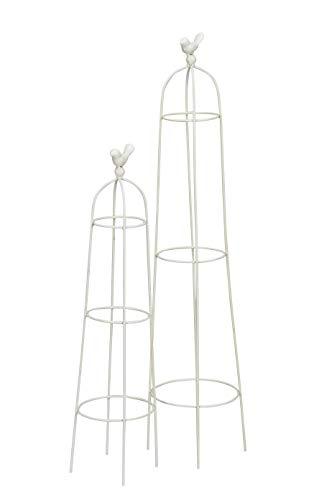 ETC dekorativer Gartenobelisk Rankobelisk Rank-Hilfe Rosengitter Shabby weiß Preis für 1 x groß und 1 x klein