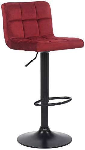 CLP Barhocker Feni Samt   Höhenverstellbarer Thekenhocker Mit Fußstütze Und Lehne   Barstuhl Mit Metallgestell, Farbe:rot