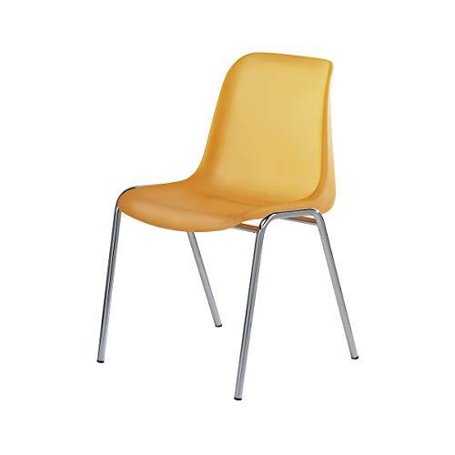 Kunststoffschalenstuhl - ohne Polster - Sitzschale leuchtorange/VE = 4 Stück - Kunststoffstapelstuhl Kunststoffstapelstühle Aufenthaltsraum Aufenthaltsräume Besucherstuhl Kantinenmöbel
