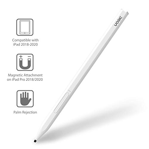 Uogic Pencil for iPad with Palm Rejection, Active Digital Stylus Pen, Compatible with iPad Pro 11/12.9 Inch (2018-2020), iPad 6th/7th Gen, iPad Mini 5th Gen, iPad Air 3rd Gen, Rechargeable