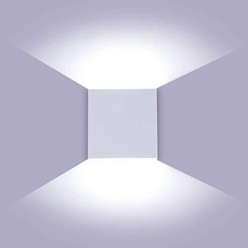 Glighone Aplique de Pared Regulable, Lámpara de Pared Interior LED 10W, Blanco Arriba Abajo Lámpara Pared, Luz de Dormitorio Aluminio Moderna para Escalera Sala de Estar, Blanco Frío