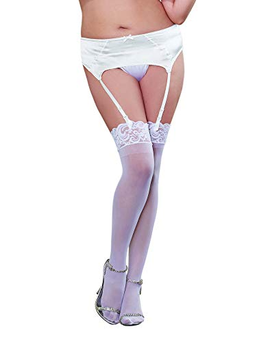 Dreamgirl Women's Plus-Size Lace Top Sheer Thigh-High Stockings, White, Queen/Small
