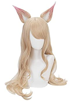 Topcosplay Women s Wig Blonde Wave Cosplay for Ahri Wig KDA Halloween Costume Wigs with Ear